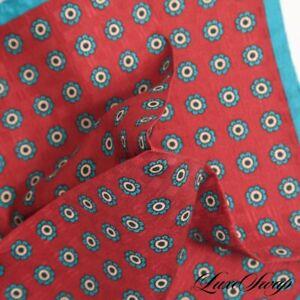 NWOT Made in Italy 100% Silk Brick Jacquard Teal Floret Medallion Pocket Square