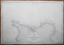 1921 FRANCE CAPE FLAMANVILLE TO ST. MARCOUF ISLAND VINTAGE ADMIRALTY CHART MAP