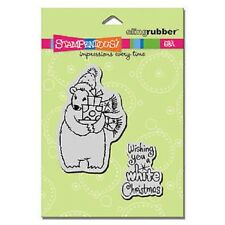 STAMPENDOUS RUBBER STAMPS 2 CLING POLAR CHRISTMAS BEARS STAMP
