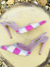 Harlequin Pastel Pinks Leather Slingback Shoes By Dune 4/37