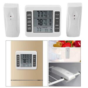 Wireless Digital Freezer Thermometer 2 Sensors Indoor Outdoor Audible Alarm SR