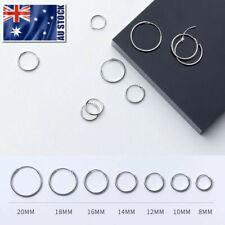 925 Sterling Silver Solid Classic Hoop Ring Earrings Lip Ear Nose Body Piercing