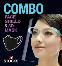 10 PC 3D MASK & FACE SHIELD CLEAR VISOR TRANSPARENT SAFETY WORK SUPPLIES