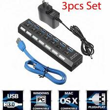 7 Port USB 3.0 Hub On/Off Switches & AC Power Adapter Cable for PC Laptop iphone