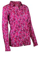 Ex Mistral Womens Dartmouth Crinkle Pink Floral Cotton Long Sleeve Shirt Top