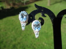 Paris Blue Topaz Stud Earrings 342 - Estate 925 Sterling Silver