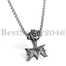 "Mens Retro Biker Stainless Steel Thors Hammer Wolf Head Pendant Necklace 22"""