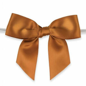 """50pcs 3 1/2"""" Rust Satin Pre-Tied or Self-Adhesive Ribbon Bow for cello bags"""
