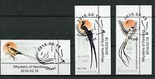 Namibia 2016 CTO Whydahs of Namibia 3v Set Birds Shaft-Tailed Whydah Stamps