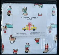 Cynthia Rowley Queen Sheet Set Christmas Dachshund Dogs Sweaters Holiday