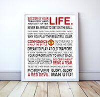 "Man Utd FC ""Soccer Is Your Life"" Manifesto Poster, 16"" x 20"""