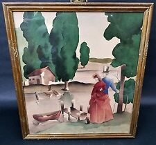 Vtg Watercolor Airbrush Painting Bernard Picture Co Gone With The Wind Image