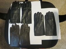 Vintage Women'S Leather Lined Gloves Navy, Brown & Black Excellent