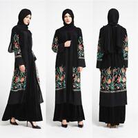 Women Mesh Embroidery Cocktail Dress Dubai Lady Cardigan Abaya Muslim Arab Robe