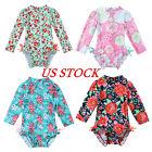 Infant Baby Girls Ruffled Rash Guard Swimwear Floral Print Swimsuit Bathing Suit