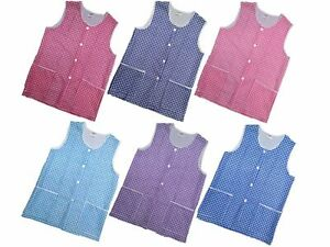 Ladies check button overall apron cleaning tabard 10 14 16 18 20 22 24 26 28 30