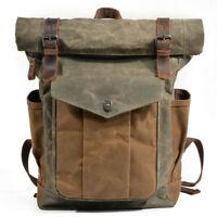 Men's Vintage Canvas Leather Backpack Rucksack School Satchel Travel Hiking Bag