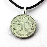 Collier pièce de monnaie Allemagne 50 reichspfennig