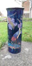 "Maling Pottery Aquatic Bird or Stork Blue Gilded Cylinder Vase 10"""