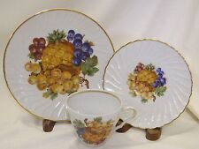 Old Nuremburg China Trio Cup Saucer Plate Fruit Design Pineapple Grapes