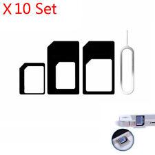 10 Set Nano Sim Card To Micro Standard Adapter Converter Iphone 6/5/5s&4/4s