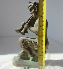 "7+"" Antique Playing satyr devil evil satan bronze statuette figure, heavy .. /2/"