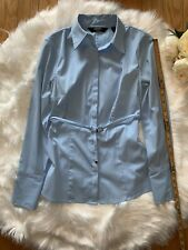 Express Women's Button Up Shirt w/Belt Size 1/2 Blue Work Professional Career
