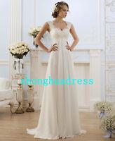 Stock White/Ivory Appliques Chiffon Wedding Dress Bridal Gown Stock Size 6 to 24