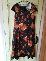 TS 14 plus size 16 dress, high low hem, Asian inspired print, side pockets