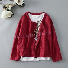 Retro Womens Chinese Style Crew Neck Jacket Cotton Linen Casual Short Coats Tops