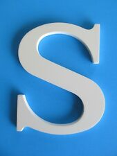 "3D White Alphabet Letter ""S"" Wall or Shelf Decor 8"" Tall Large x 6"" W Hang Lean"