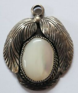 """Vintage mother of pearl shell sterling silver pendant oval 1 1/2"""""""