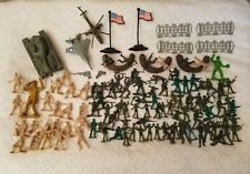 Toy Soldiers Assorted Plastic Army Men Lot American Flags Tank Helicopter Jet