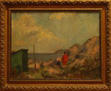 MADRE CON BAMBINO AL MARE - Dipinto Originale a Olio su Tela 1900