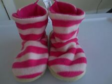 NEW Girl Toddler Large 11-12 OLD NAVY Cozy Fleece Slippers NWT Pink Stripe Cute!