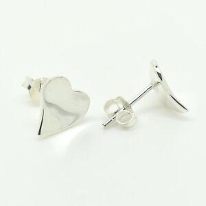 Genuine Sterling Silver Heart Stud Earrings (SE0421)