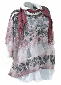 3Tlg Tunika Lagenlook Kleid Netz Schal Twinset Hängerhen Spitze Shirt Rot