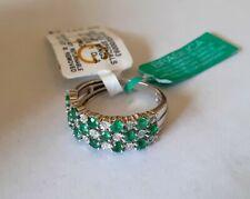 EFFY 14K White Gold Ring With Natural Emeralds & Diamonds Sz 7 NWT