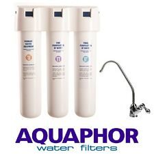 AQUAPHOR CRYSTAL Three Stage Carbon Fibre Block Inline Drinking Water Filter tap