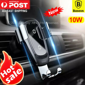 Baseus Qi Wireless Charger Car Air Vent Mount Phone Holder iPhone 11 X Samsung
