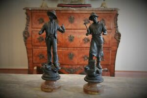 Pair of French Antique Spelter Figurines Macon & Charpentier