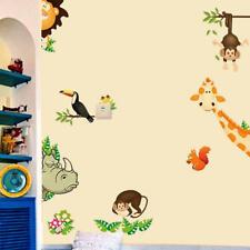 Wandtattoo Tiere Kinderzimmer Bär Eule Affe Baum Baby Sticker Aufkleber Junge