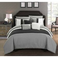 Agathe Color-Block Comforter Set 10 Piece Size Queen Black and Gray