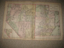 HUGE ANTIQUE 1887 UTAH NEVADA MITCHELL HANDCOLORED MAP LAS VEGAS SALT LAKE CITY