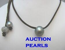 LEATHER TAHITIAN PEARL SURF CHOCKER UNISEX NECKLACE , bracelet