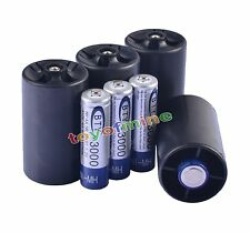 4x AA 3000mAh BTY Rechargeable Battery + 4x D Size Battery Adapter Converter