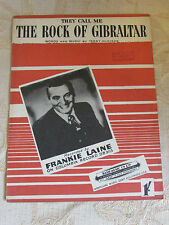 Vintage Sheet Music Of They Call Me The Rock Of Gibraltar, By F. Laine - 1952