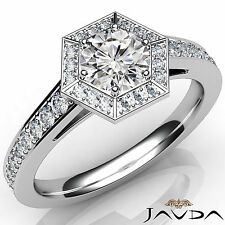 Dazzling Round Diamond Hexagon Pave Set Engagement Ring GIA D SI1 Platinum 1Ct