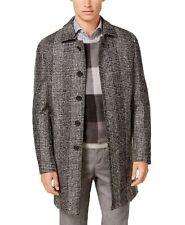 Ryan Seacrest Mens Over Coat Black Gray Size 38S Plaid Button Front $395 054