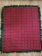 "Handmade Knotted Fleece Tied Double Throw Christmas Blanket 68"" x 58"""